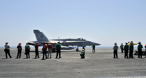 aboard the aircraft carrier USS George H.W. Bush (CVN 77). George H.W. Bush is supporting maritime security operations and theater security cooperation efforts in the U.S. 5th Fleet area of responsibility.